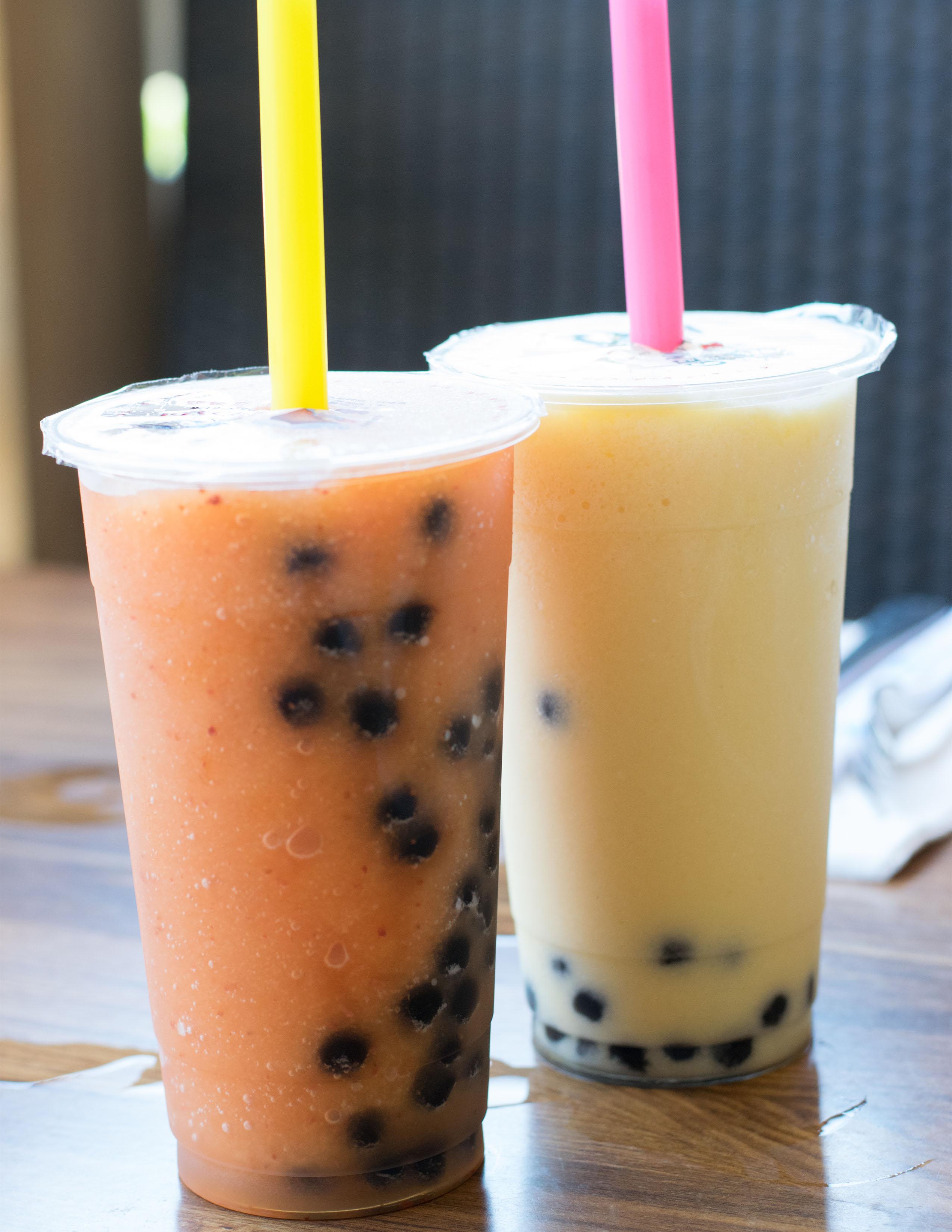 Strawberry Passion Fruit Bubble Tea and Pineapple Mango Bubble Tea